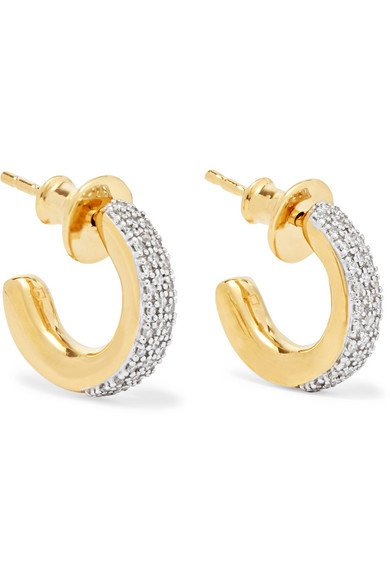 MONICA VINADER Fiji Mini gold vermeil diamond hoop earrings
