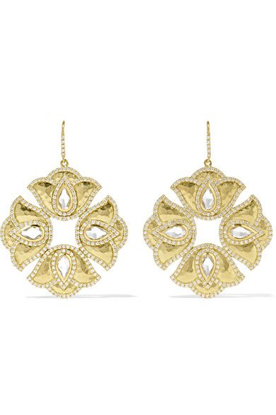 AMRAPALI Kaliyana Lotus 18-karat gold, topaz and diamond earrings