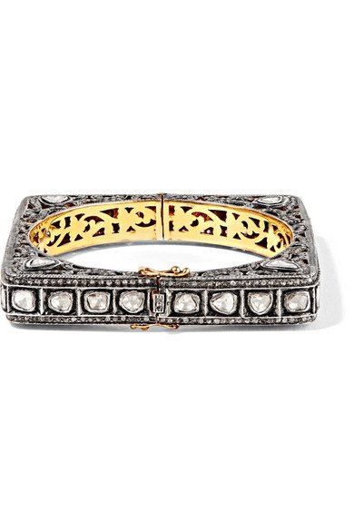 AMRAPALI 18-karat gold and sterling silver diamond bracelet
