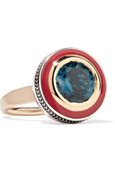 ALICE CICOLINI Tile 22-karat gold, sterling silver, topaz and enamel ring