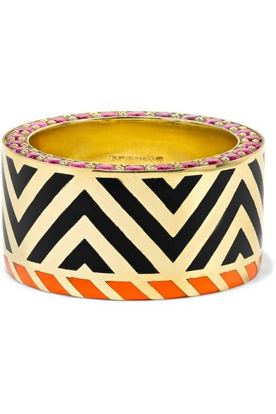 ALICE CICOLINI Memphis Chevron 14-karat gold, ruby and enamel ring