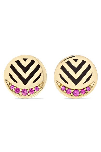 ALICE CICOLINI Memphis Chevron 14-karat gold, ruby and enamel earrings