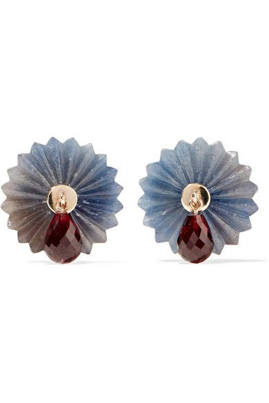 ALICE CICOLINI Summer Snow 9-karat gold, sapphire and garnet earrings