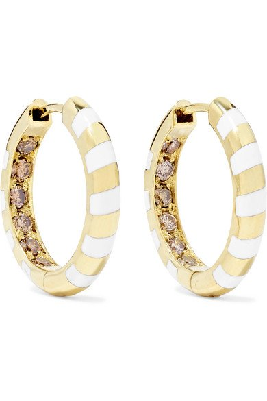 ALICE CICOLINI Memphis Candy 14-karat gold, diamond and enamel hoop earrings