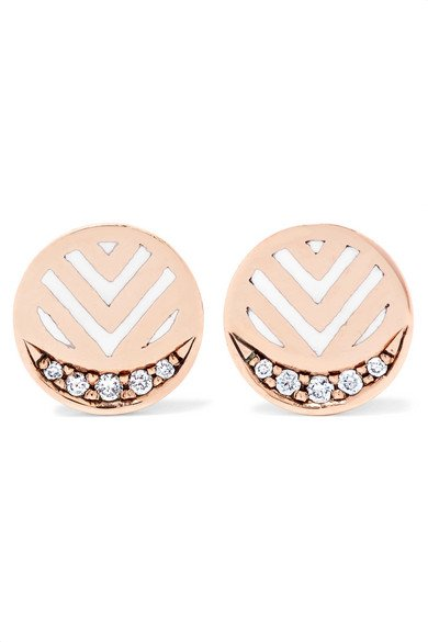 ALICE CICOLINI Memphis Chevron 14-karat gold, diamond and enamel earrings