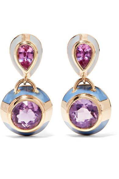 ALICE CICOLINI 14-karat gold, sapphire, amethyst and enamel earrings