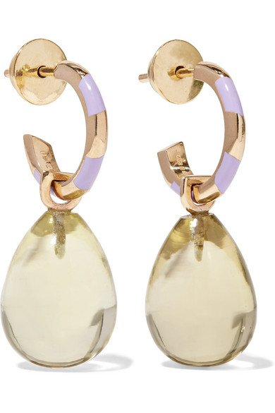 ALICE CICOLINI 14-karat gold, quartz and enamel earrings