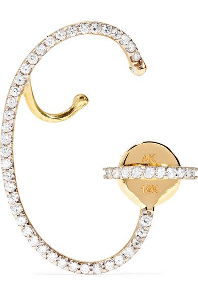 ANA KHOURI Lily 18-karat gold diamond earring