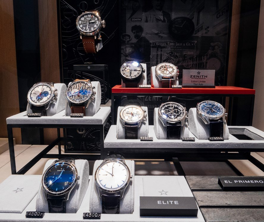 Luxury Zenith Watches in Boutique Display