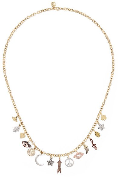 14-karat yellow, white and rose gold diamond necklace