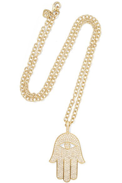 Extra Large Hamsa 14-karat gold diamond necklace