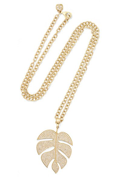 Extra Large Monstera Leaf 14-karat gold diamond necklace