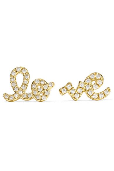 Love 14-karat gold diamond earrings