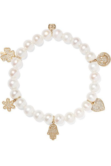 Pearl, diamond and 14-karat gold bracelet