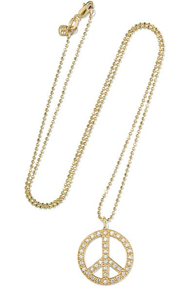 Peace Sign large 14-karat gold diamond necklace