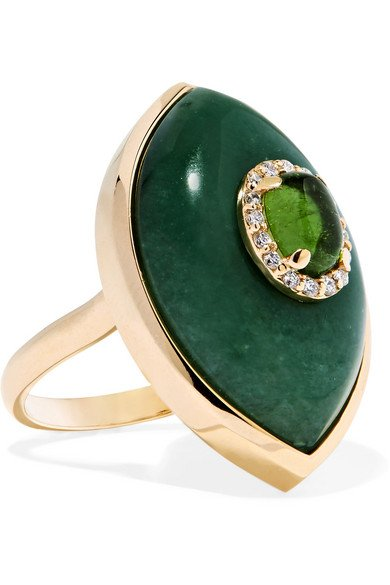 Iris 14-karat gold multi-stone ring