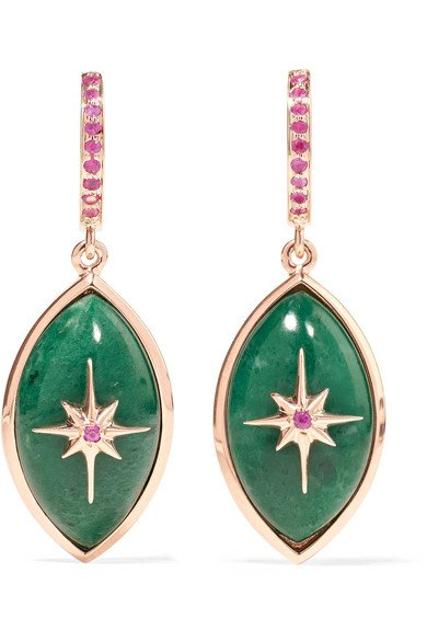 Mini Eye 14-karat rose gold, sapphire and malachite earrings
