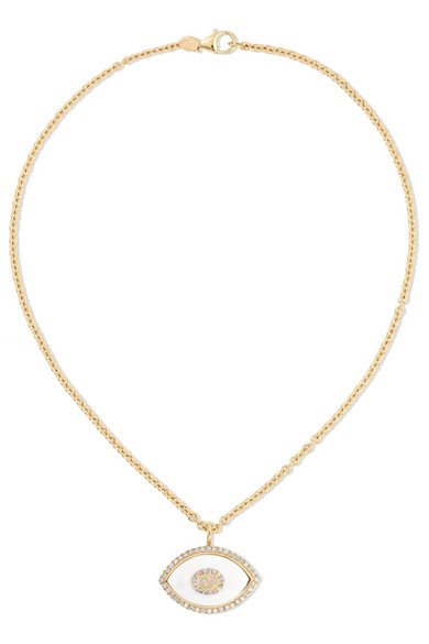 Eyecon 14-karat gold multi-stone necklace