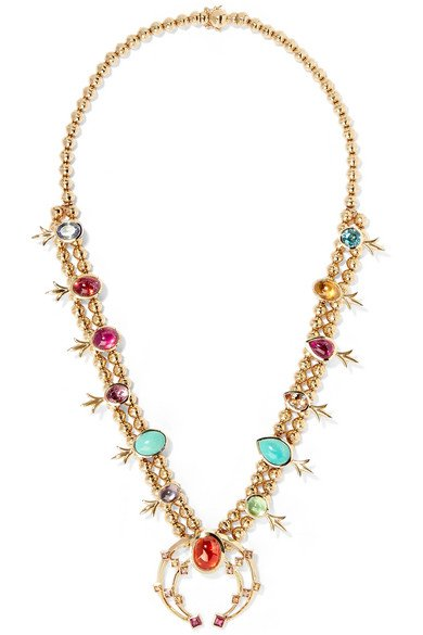 Squash Blossom 14-karat gold multi-stone necklace