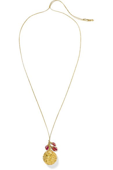 18-karat gold, tourmaline and cord necklace