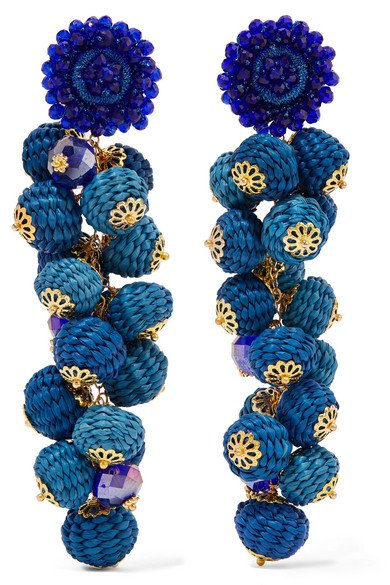 Blue Cluster bead, silk and gold-tone earrings