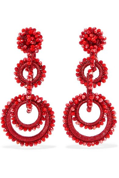 Red Sundrop bead and silk earrings