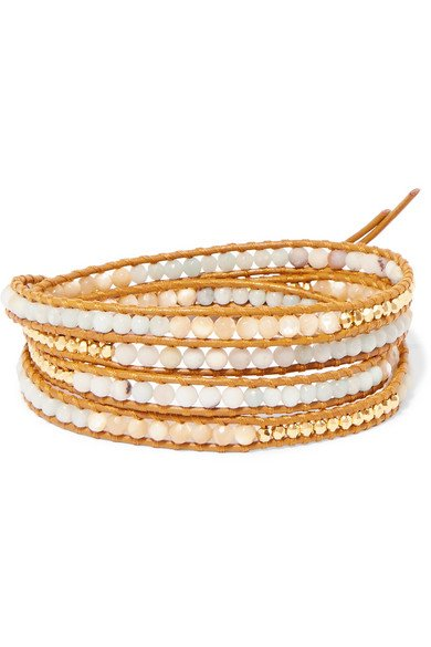 Leather, gold-plated and amazonite wrap bracelet 2