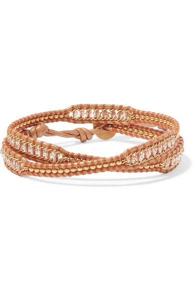 Leather and gold-tone beaded wrap bracelet