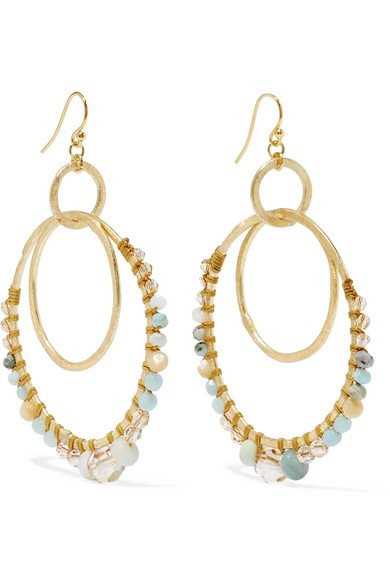 Gold-tone, amazonite and crystal earrings