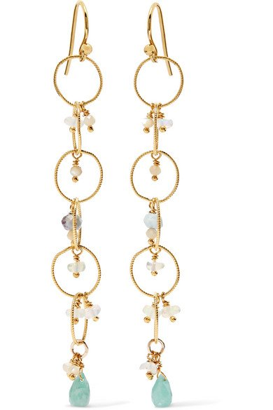 Gold-plated amazonite earrings