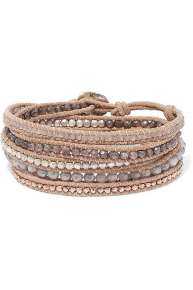 Leather and rose gold-plated silverite wrap bracelet