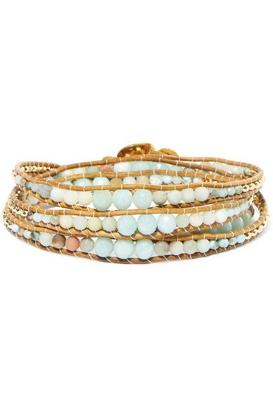 Leather, gold-plated and amazonite wrap bracelet