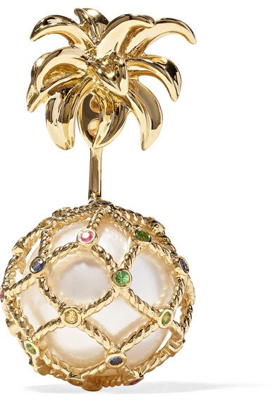 18-karat gold, pearl and sapphire earring