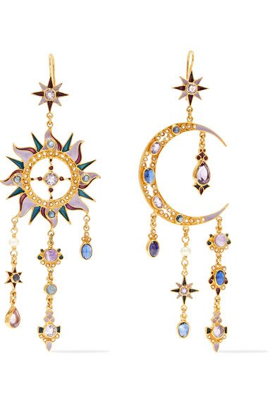 24-karat gold-plated multi-stone earrings
