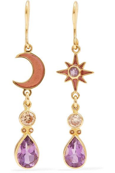 Moon and Sun enamel multi-stone earrings