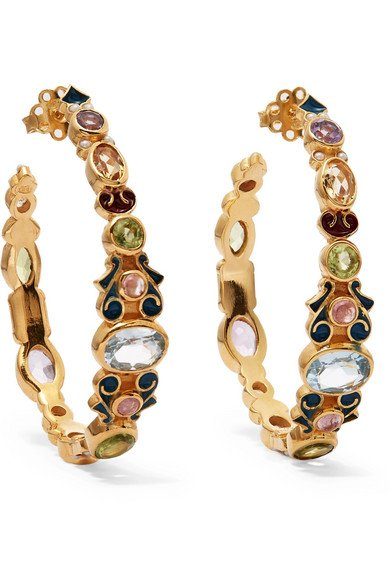 Gold-plated and enamel multi-stone round earrings