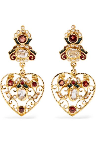 Gold-plated enamel multi-stone earrings 2