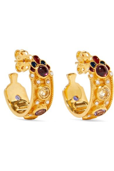Gold-plated and enamel multi-stone hoop earrings