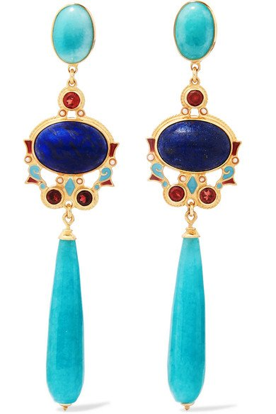 Gold-plated enamel multi-stone earrings