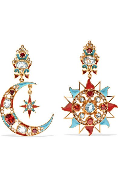 Gold-plated and enamel multi-stone clip earrings