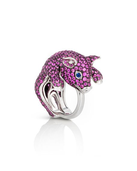 Sapphire Pave Pig Ring