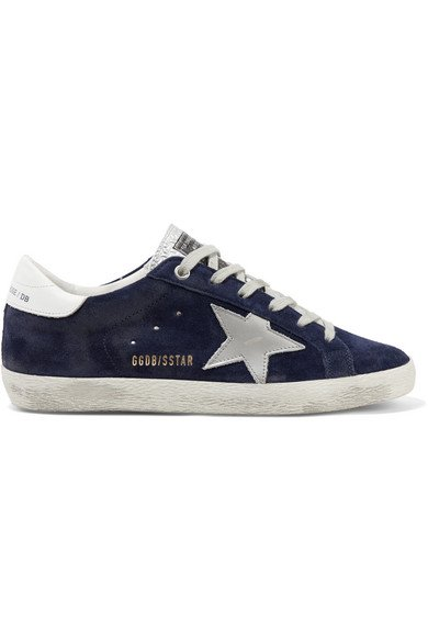 Superstar distressed suede and leather sneakers