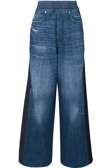 Sophie paneled high-rise wide-leg jeans