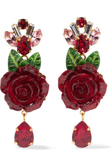 Gold-plated resin and crystal clip earrings