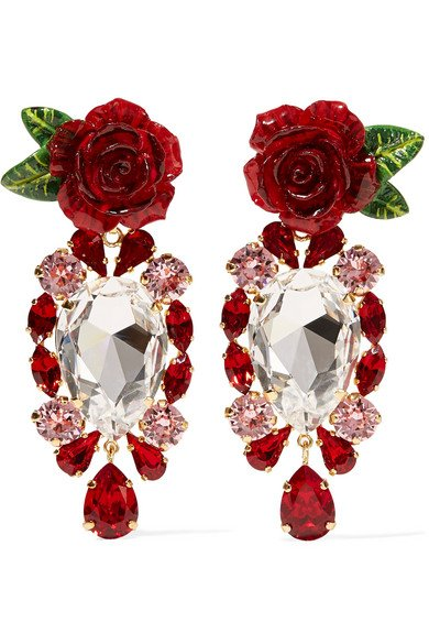 Gold-tone, crystal and resin clip earrings