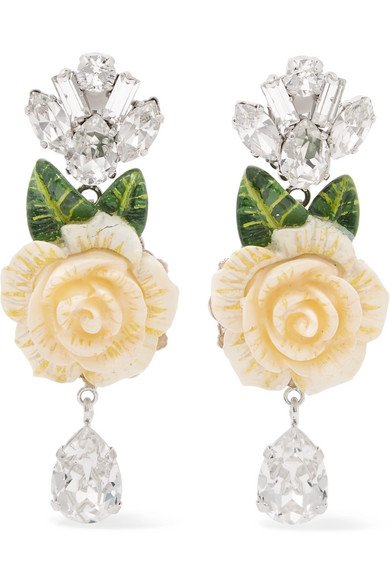 Silver-plated, enamel and crystal clip earrings