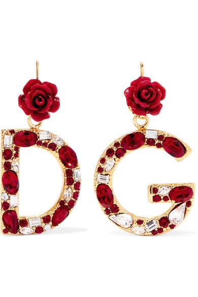 Gold-plated, enamel and crystal earrings