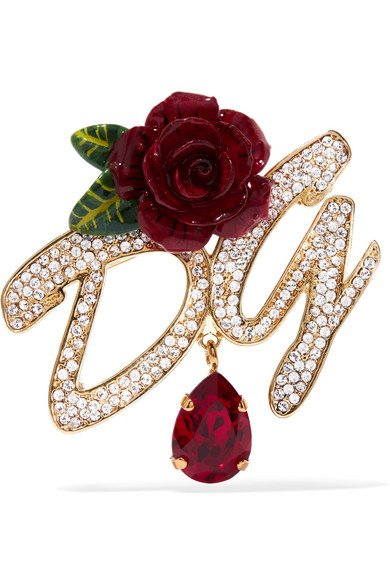Gold-plated, enamel and crystal brooch