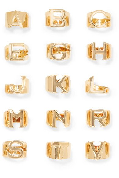 Alphabet gold-tone ring