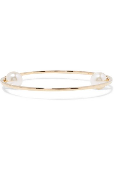Gold-tone faux pearl bangle
